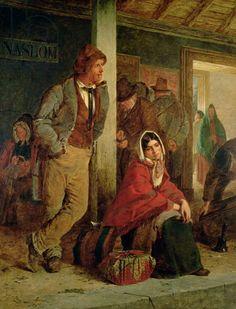 Irish Emigrants Waiting for a Train, 1864 (oil on canvas) Nicol, Erskine (1825-1904) Scottish