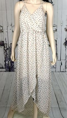 cb5f0431618 Womens Willow Clay Maxi Dress Sz Large Floral Open Front Ivory Hippie BOHO