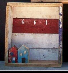 Cassetta portachiavi in legno di recupero decorato a mano - Mobili da Parete - Mobili - Arredamento