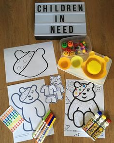 Pudsey Bear activities for Children in Need. Easy Crafts For Kids, Toddler Crafts, Fun Crafts, Diy And Crafts, Charity Activities, Craft Activities, Children In Need 2019, Activity Ideas, Craft Ideas