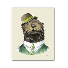 Otter art print - Animal art - Nursery art - Nursery decor - Animals in Clothes - Children's art - Ryan Berkley Illustration Dog Portraits, Portrait Art, Pet Clothes, Otters, Nursery Art, Nursery Decor, Room Decor, Cute Animals, Wild Animals
