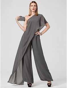 Marchesa Style Jumpsuit One Shoulder Floor Length Chiffon Formal Evening Dress w. - Marchesa Style Jumpsuit One Shoulder Floor Length Chiffon Formal Evening Dress with Draping by TS C - Evening Dresses Online, Cheap Evening Dresses, Elegant Dresses, Cheap Dresses, Grad Dresses Long, Formal Dresses For Teens, Wedding Dresses, Mode Outfits, Dress First