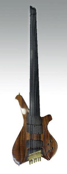 multiscale fretless, headless 1978 by Fleishman Instruments Unique Guitars, Custom Guitars, Vintage Guitars, Music Guitar, Cool Guitar, Guitar Art, I Love Bass, Rick E, All About That Bass