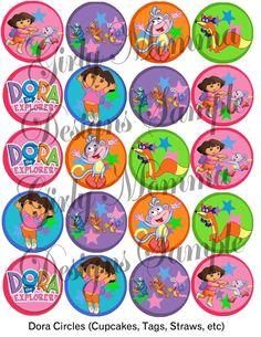 Dora The Explorer Birthday Party 2 Inch Circles Printable 3 sets of Dora & Friends. $2.00, via Etsy.