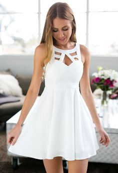 f42cd9c5020 thumbnail - White Open Back Crochet Back Skater Dress Short White Dresses