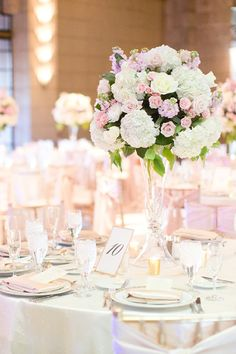 Tall pink and white centerpiece ideas