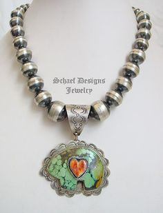 Schaef Designs Turquoise Bear with Orange Spiny Heart Pendant on Large Navajo Pearl sterling silver necklace