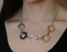 Statement Necklace Chain Mixed Metal Hardware Jewelry Industrial Eco Friendly on Etsy, $25.00