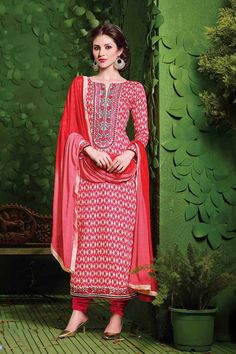 Red Cotton Straight Suit with Chiffon Dupatta