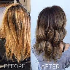 Before and after blonde to brown Balayage hair