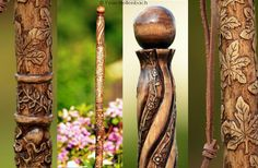 Baton de marche sculpté