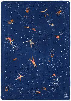 Cielo nuotare Stampa artistica di pittura originale di Helo