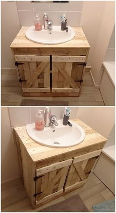 This wood pallet awesome design will make you offer with two outstanding creations for decorating your bathroom areas in the brilliant way. First side, is giving out the artwork design of the sink portion where its bottom side is introducing the cabinet a Pallet Vanity, Pallet Bathroom, Bathroom Sink Decor, Bathroom Storage, Bathroom Vanities, Bathroom Pink, Bathroom Remodeling, Bathroom Ideas, Bathroom Small