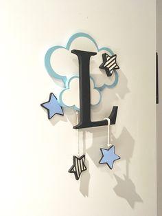 Décoration prénom lettre bébé nuage étoile : Décoration pour enfants par cha-choux