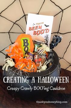 Boo'ing Cauldron & Spooky Spiders Treats, Halloween Tricks, Treats, DIY + Crafts, Spooky, Halloween, Halloween Recipes, Halloween Treats, DIY Halloween Decorations, Spooky, Decorate, Halloween Fireplace Craft, Decorations, Decor, Thank You Honey