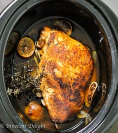 Slow Cooker Turkey Breast - perfectly moist and delicious. With this recipe you can have your favorite Thanksgiving meal any day of the week. It takes literally 5 minutes to prepare.