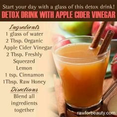 Colon Cleansing Remedies Detox drink with apple cider vinegar Healthy Detox, Healthy Drinks, Healthy Life, Healthy Living, Healthy Meals, Healthy Food, Healthy Recipes, Healthy Water, Easy Detox