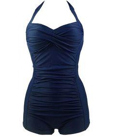ac00ba5b59665 Women's Plus Size Padded Retro One Piece Monokini Swimsuit Bandage Bathing  Suit - Dark Blue - CX17WU02I3C