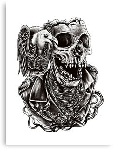 'Vulture skull sm' Canvas Print by barmalisiRTB Skull Tattoo Design, Skull Tattoos, Body Art Tattoos, Sleeve Tattoos, Tattoo Designs, Tattoo Sleeves, Leg Tattoos, Tattoo Ideas, Skull Artwork