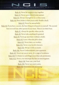 ncis gibbs rules | NCIS Gibbs' Rules..With rule #5 and #6, missing on a lot of rules posted.....