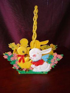 Vintage 1970's Hard Plastic Collapsible Easter Basket Bunny & Duck