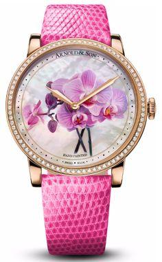 Женские часы Arnold & Son 1LCMP.M04A.L513A Royal Collection HM Flowers - золотые - швейцарские женские наручные часы