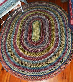 braided rug hand made stitched wool folk art vintage original 65 x 75 vintage