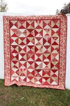 Red Hour-Glass block quilt