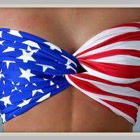 Bandeau  American Flag Bandeau Top  Spandex Bandeau by Sidewalk616