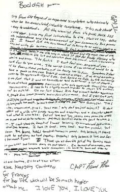 A letter from Kurt to Courtney, the way he wrote... Heart