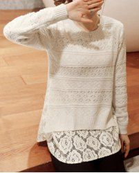 Fashionable Round Collar Lace Splicing Long Sleeve Pullover Sweater For Women