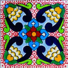 DE02 Mexican Talavera Tile Mosaic 4x4 Tiles Clay Tile Coaster Mural Ceramic Handmade 90 Tiles $135 with shipping