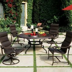Ravello padded sling outdoor furniture collection by Tropitone. Available from Rich's for the Home http://www.richshome.com/