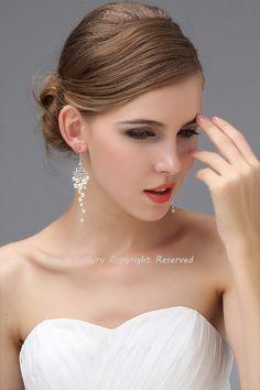 Bridal Chandelier Earrings Pearl Wedding Earrings  by adriajewelry, $46.00