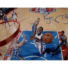 Rodney Stuckey Detroit Pistons at the Basket in Blue Jersey Signed 16 inch x 20 inch Photo (Getty #158174819)