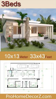 Simple Bungalow House Designs, Small House Exteriors, Modern Small House Design, Modern Exterior House Designs, Simple House Design, Bungalow House Plans, House Front Design, House Layout Design, Village House Design