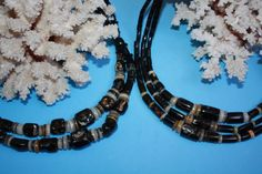 @@@@BlackCoral4you Black Coral-Shell and Sterling Silver / Coral Negro-Concha y Plata de Ley