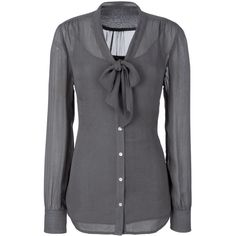 Long Blouse With Elegant Pussy Bow Detail - Stunning Grey Blouse For... ($17) ❤ liked on Polyvore
