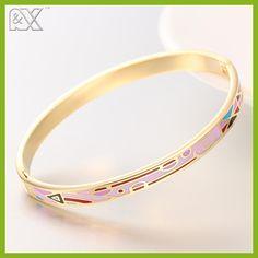 R&X Gold Femme Detalles Fine Regalos Esmaltes Boda Women Jewelry Bijoux Plated Stainless Steel Bangle Bracelet Enamel Bangles