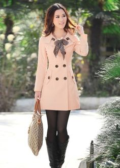Cute Pink Coat With Black Legging And Black Long Shoes And Bag