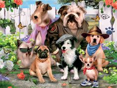 Howard Robinson 'Dog Dress Up' Canvas Art Trademark Fine Art Dog In Heat, Dude Perfect, Group Of Dogs, Gif Animé, Dog Dresses, Illustrations, Dog Shirt, Montage, Best Dogs