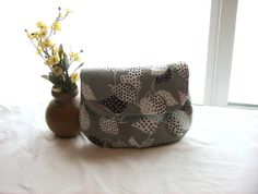 Strapless Make Up Clutch bag  Brown  Gray by WeaversHomestead, $20.00