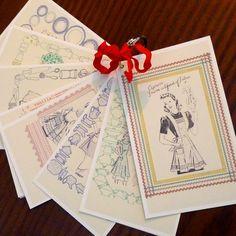 Vintage Apron Patterns   Vintage Apron Patterns RECIPE CARDS / Gift by turnofthecenturies