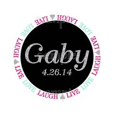 Live Laugh Love Chocolate Kiss Glitter Bat Mitzvah Logo by Cutie Patootie Creations #batmitzvahlogos #barmitzvahlogos