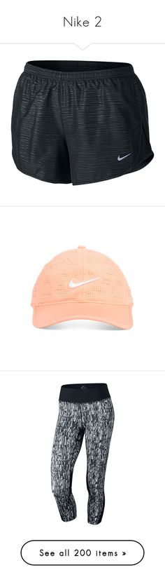 """""""Nike 2"""" by emily-danielson ❤ liked on Polyvore featuring shorts, pants, athletic shorts, nike, tops, crop tops, shirts, t-shirts, black and short sleeve print shirt"""