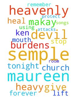 Father God please heal my mouth (Maureen Semple)and also God I need  you -  I Maureen semple need you Heavenly Father and please get Devils attacks of me Maureen semple And Ken Makay stop the devil using him to get at Help me to remember the songs at after church Please lift my heavy burdens I give them to you Heavenly Father please protect me and my room tonight and forever in Jesus name Amen  Posted at: https://prayerrequest.com/t/xwA #pray #prayer #request #prayerrequest