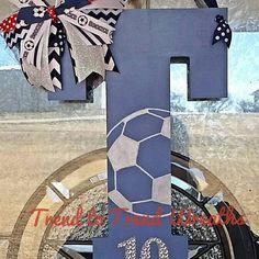 Wooden Soccer Letter Soccer  Soccer Decor by TrendtoTrendWreaths
