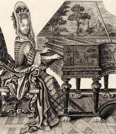"""""""Femme de qualité jouant du clavessin"""" (1688)."""