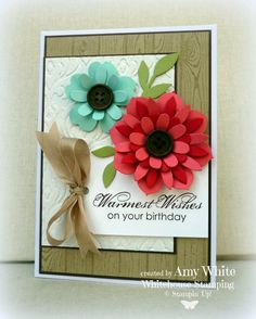 handmade birthday card by White House Stamping ...wood grain background ... gorgeous layered die cut flowers ... luv the two red tones in alternating layers of the five layered flowers ... great dimension ... Stampin'Up!