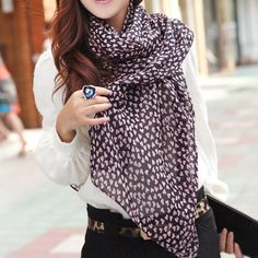 Sweet Pink Heart Print Scarf For Women